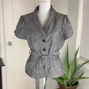 Jezebell cap sleeve button up jacket with belt